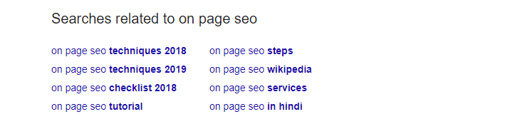 google suggest - onpage seo- Thinkwik